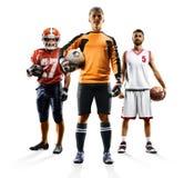 Mång- bascketball för amerikansk fotboll för sportcollagefotboll arkivfoto