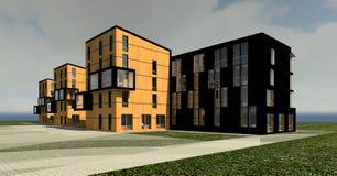 mång--berättelse 3D hus 3D Fotografering för Bildbyråer