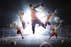 Mång- collage för personbasketspelare royaltyfri bild