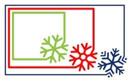 Mång--färgad fastställd gränsramlinje med vektorn för snöflinga för hörnbeståndsdel För snöflingakontur för etikett enkel rundad  stock illustrationer