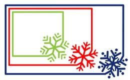 Mång--färgad fastställd gränsramlinje med vektorn för snöflinga för hörnbeståndsdel För snöflingakontur för etikett enkel rundad  vektor illustrationer