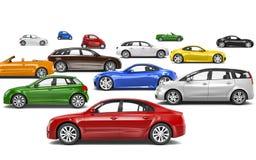Mång--färgade bilar som 3D parkeras på olika riktningar Arkivfoto