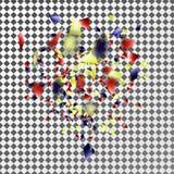 Mång--färgade konfettier och banderoller på en genomskinlig bakgrund Royaltyfri Foto