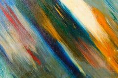 Mång--färgade långa diagonala vattenfärgslaglängder på kanfas royaltyfri bild
