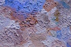 Mång--färgade penseldrag av olje- målarfärg på kanfas Arkivfoto