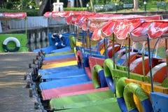 Mång--färgat pedal- fartyg Fotografering för Bildbyråer