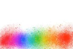 Mång- färgmålarfärg är en regnbåge på en vit bakgrund arkivfoto
