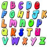 mång- gladlynt färgade engelska bokstäver för alfabet royaltyfria bilder
