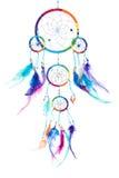 Mång- kulör dröm- stoppare med fjädrar, med pärlor, kant royaltyfri illustrationer