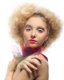 mång- kvinnabarn för färgade leaves arkivfoton