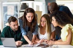 Mång--person som tillhör en etnisk minoritet grupp av unga män och kvinnor som inomhus studerar royaltyfri bild