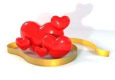 mång- röd hjärta 3d med det guld- bandet Royaltyfri Bild