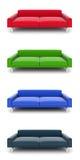mång- sofas för kulöra modeller 3d Royaltyfri Bild