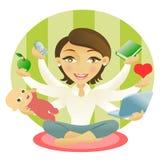 mång- taskingkvinna royaltyfri illustrationer
