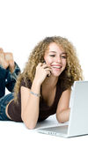 mång- telefontasking för dator Arkivbild