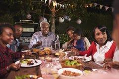 Mång- utvecklingsfamilj som äter upp matställen i trädgården, slut royaltyfria foton