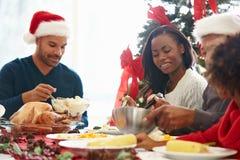 Mång- utvecklingsfamilj som hemma tycker om julmål Royaltyfri Foto