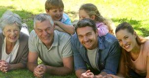 Mång- utvecklingsfamilj som ler och ligger på jordning i en parkera stock video