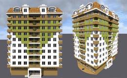 Mång--våning modernt hus Arkivbild