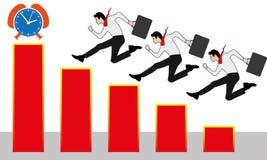 Många affärspersoner som lyckat kör på en stege till diagrammet upp royaltyfri illustrationer
