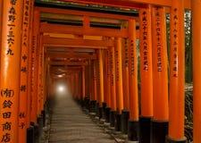 Många av röda Torii i Japan: Fujimi Inari på Kyoto Royaltyfri Bild