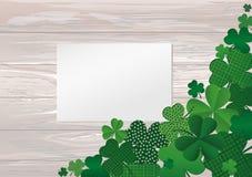 Många avel av växt av släktet Trifolium på tabellen Tomt tomt ark för annons vektor illustrationer