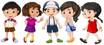 Många barn med stort leende royaltyfri illustrationer