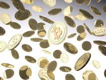 Många Bitcoin i luften Royaltyfri Foto