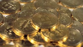 Många Bitcoins Bitmynt Btc Närbild arkivfilmer