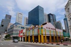 Många byggnader i Singapore Arkivfoto
