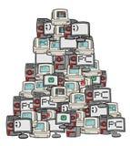 Många datorer stock illustrationer