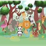 Många djur på trädet och växterna royaltyfri illustrationer