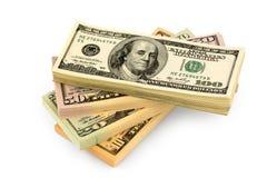 Många dollarräkningar Arkivbild
