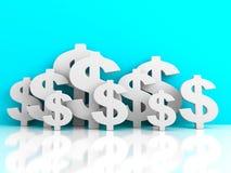Många dollarvalutasymboler på blå bakgrund stock illustrationer