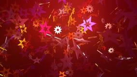 Många drömlika fallande glödstjärnor på röda bakgrunder vektor illustrationer