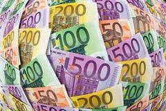 Många eurosedlar Arkivfoton