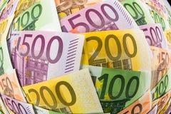 Många eurosedlar Arkivbilder