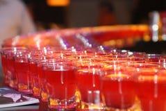 Många exponeringsglas av alkoholdrycken i stången Arkivfoton
