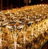 Många exponeringsglas av champagne Royaltyfria Foton