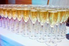 Många exponeringsglas av champagne på en tabell Royaltyfri Fotografi