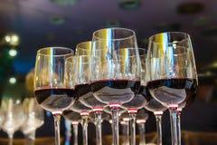 Många exponeringsglas av rött vin Royaltyfri Bild