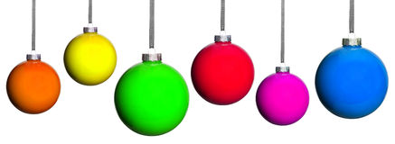 Många färgade julgranbollar Arkivfoton