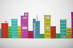 Många-färgat dra cityscape royaltyfri bild
