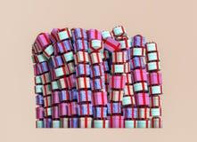 Många färgrika gåvaaskar på en hög arkivbild
