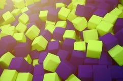 Många färgrika mjuka kvarter i en kids& x27; ballpit på en lekplats Fotografering för Bildbyråer