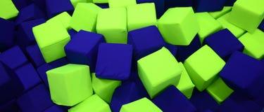 Många färgrika mjuka kvarter i en kids' ballpit på en lekplats Arkivfoton