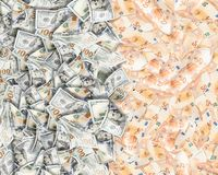 Många femtio euro och dollar bakgrund stock illustrationer