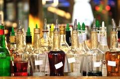 Många flaskor av alkohol Royaltyfri Fotografi