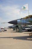 Många flygplan som visas på den internationella rymdsalongen för MAKS Arkivbilder