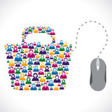 Många folk shoppar on-line lagerför vektorbegrepp Arkivbilder